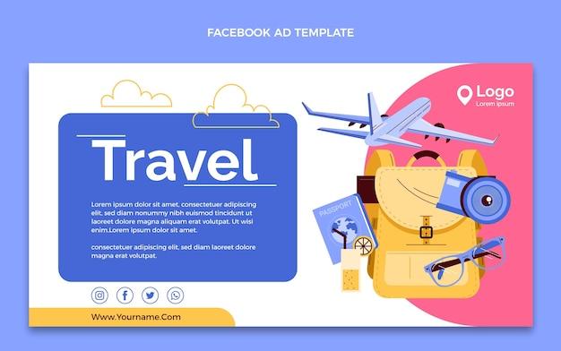 Modèle de promotion de médias sociaux de voyage dessiné à la main
