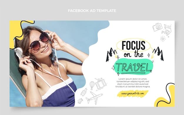 Modèle de promotion de médias sociaux de voyage plat