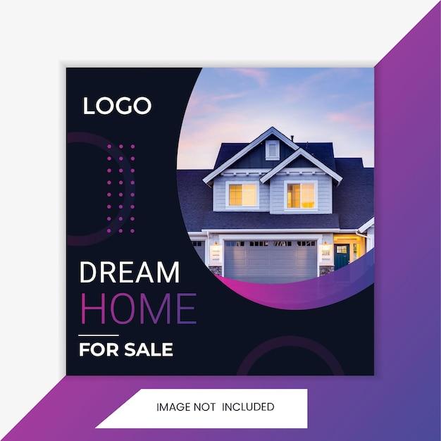 Modèle de promotion de la place de publication de l'immobilier sur les réseaux sociaux. marketing de promotion des ventes.