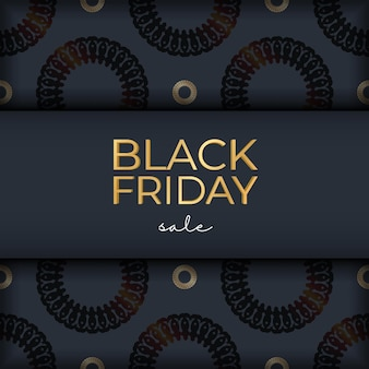 Modèle de promotion promotionnelle de vente de vendredi bleu marine avec ornement luxueux