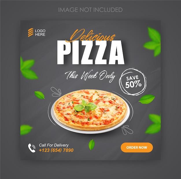 Modèle de promotion et de publication de bannière sur les médias sociaux de pizza food