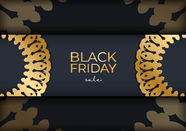 Modèle de promotion de vacances de vente vendredi noir bleu marine avec ornement en or grec