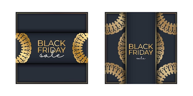 Modèle de promotion de vente vendredi noir bleu foncé avec ornement géométrique en or