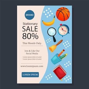 Modèle promotionnel de mise en page de vente stationnaire