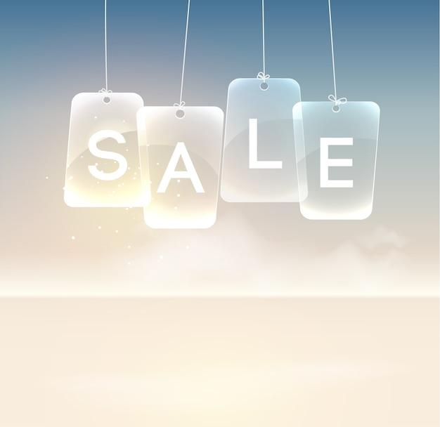 Modèle promotionnel réaliste avec des panneaux de vente en verre suspendus sur la lumière