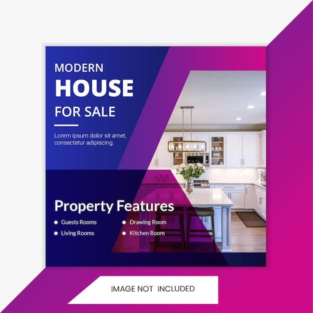 Modèle de publication et de bannière sur les médias sociaux carrés d'agence immobilière. modèle de poste intérieur à la maison.