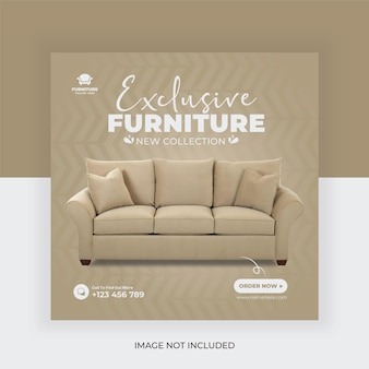 Modèle de publication de bannière de médias sociaux de vente de meubles