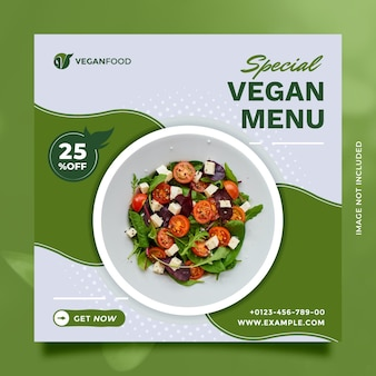 Modèle de publication et de bannière sur les réseaux sociaux d'aliments sains pour la promotion numérique du restaurant et de la cuisine