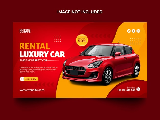 Modèle de publication de bannière web de promotion de voiture de luxe de location