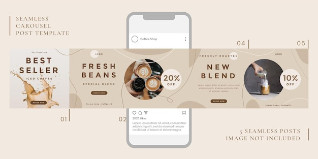 Modèle de publication carrousel sans couture avec thème café pour les médias sociaux.