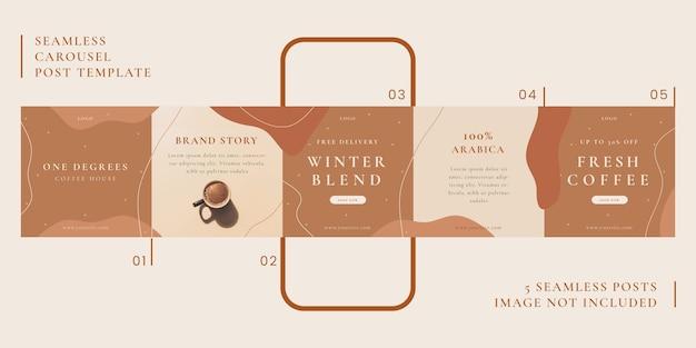 Modèle de publication de carrousel sans couture avec le thème du café pour les médias sociaux