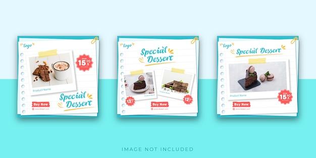 Modèle de publication de dessert sur instagram