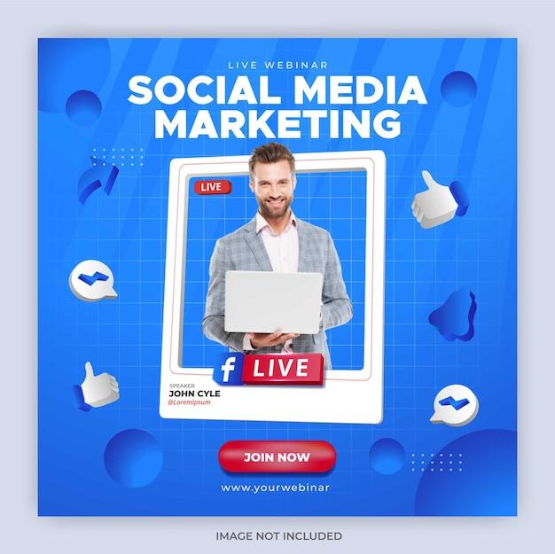 Modèle de publication de diffusion en direct facebook pour le marketing d'entreprise