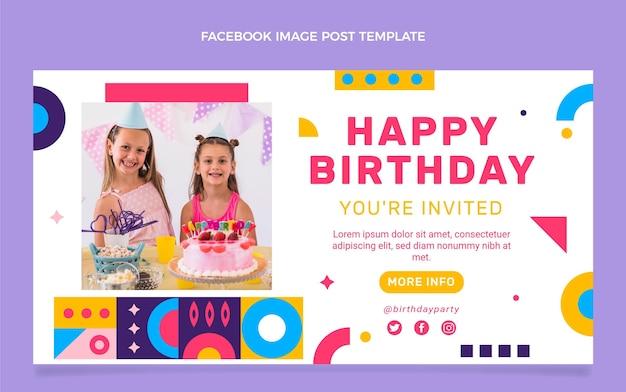 Modèle de publication facebook anniversaire mosaïque design plat