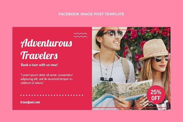 Modèle de publication facebook de voyage plat