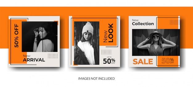 Modèle de publication de flux de médias sociaux minimaliste orange