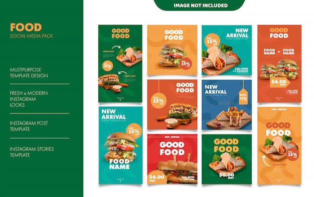 Modèle de publication de flux de nourriture histoires instagram
