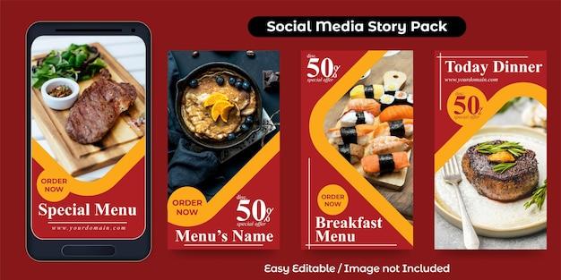 Modèle de publication d'histoire sur les médias sociaux pour la promotion des aliments