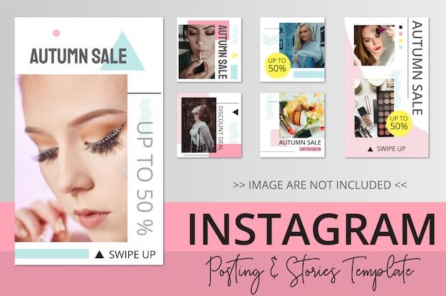 Modèle de publication et d'histoires de beauté instagram