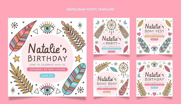 Modèle de publication instagram anniversaire boho dessiné à la main