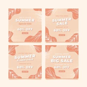 Modèle de publication instagram de bannière d'été