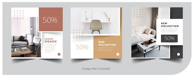 Modèle de publication instagram de bannière intérieure à la maison