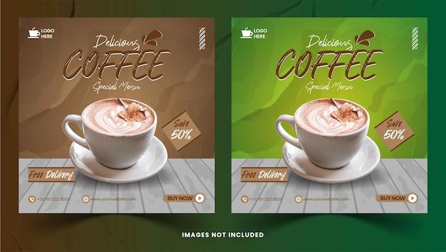 Modèle de publication instagram de bannière de médias sociaux de pack de café