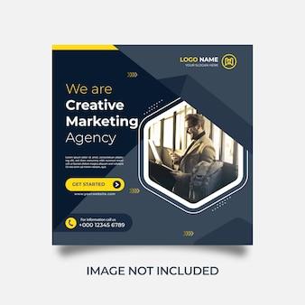 Modèle de publication instagram de bannière web de publication de médias sociaux d'agence de marketing créatif