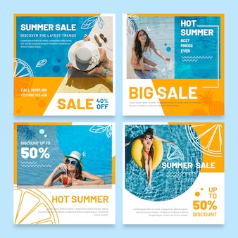 Modèle de publication instagram bonjour vente d'été