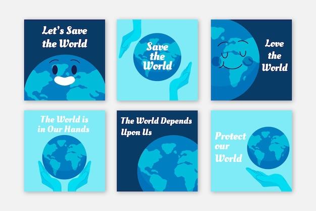 Modèle de publication instagram de charité d'environnement