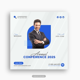 Modèle de publication instagram de conférence d'affaires en ligne ou vecteur de modèle de flyer carré