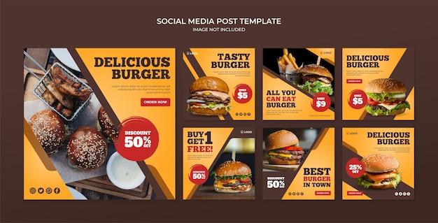 Modèle de publication instagram délicieux burger sur les médias sociaux