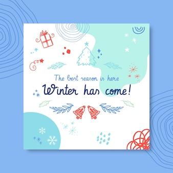 Modèle de publication instagram de dessin d'hiver coloré doodle