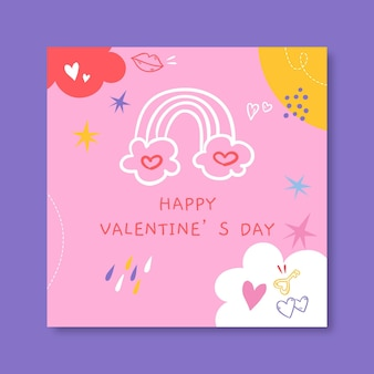 Modèle de publication instagram doodle valentines day