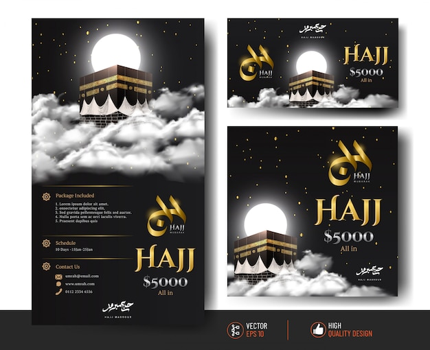 Modèle de publication instagram du hajj de luxe et de la kaaba.