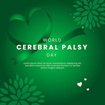 Modèle de publication instagram du jour de la paralysie cérébrale du monde plat dessiné à la main