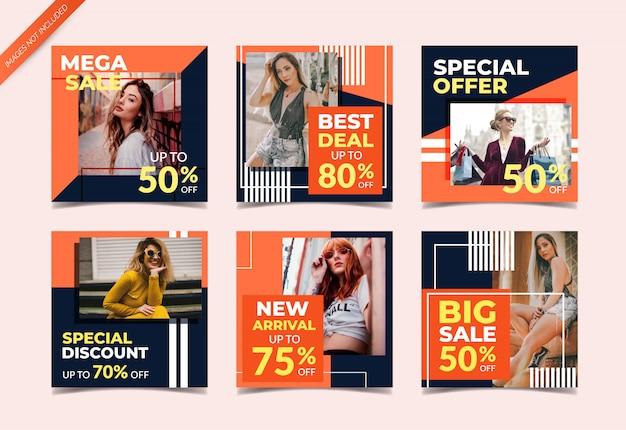Modèle de publication instagram ou ensemble de bannière carrée, vente de mode