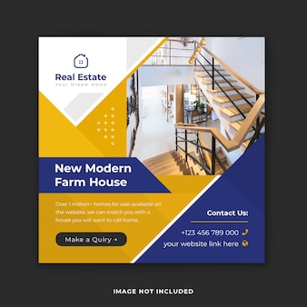 Modèle de publication instagram d'entreprise immobilière de maison moderne