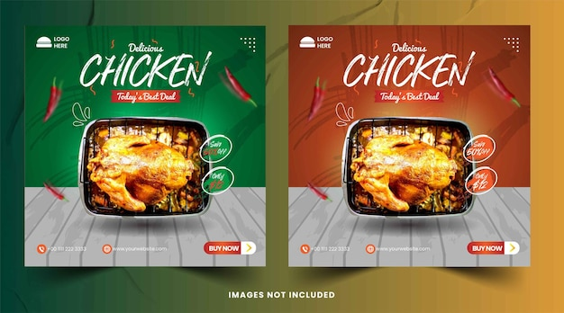 Modèle de publication instagram et facebook de délicieux poulet sur les réseaux sociaux
