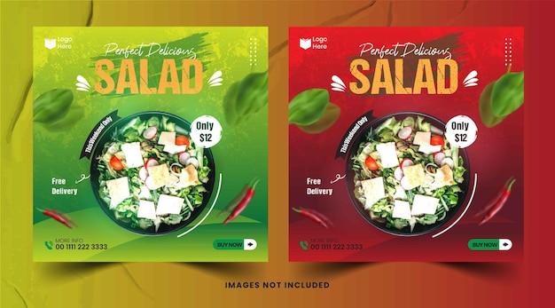 Modèle de publication instagram et facebook de médias sociaux de salade saine