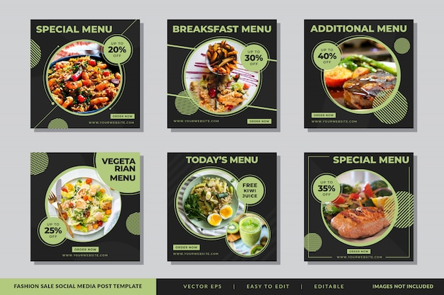 Modèle de publication instagram food & culinary social media