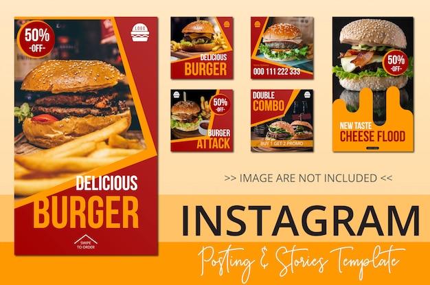 Modèle de publication instagram histoires food theme