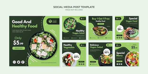 Modèle de publication instagram sur les médias sociaux des aliments sains