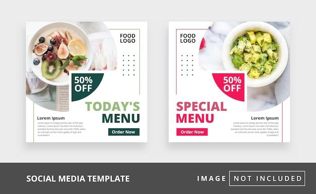 Modèle de publication instagram sur les médias sociaux culinaires