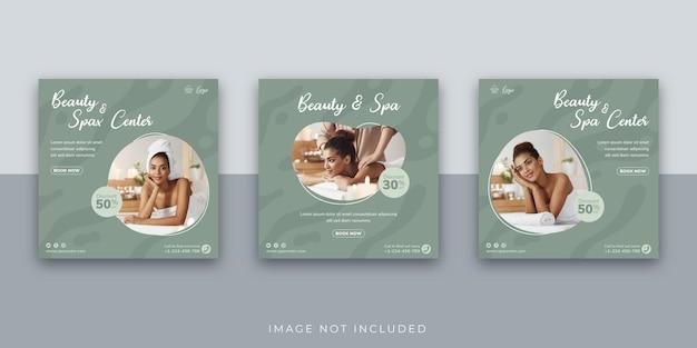 Modèle de publication instagram sur les médias sociaux du centre de beauté et de spa