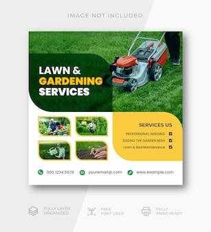 Modèle de publication instagram sur les médias sociaux pour l'entretien des pelouses et le jardin