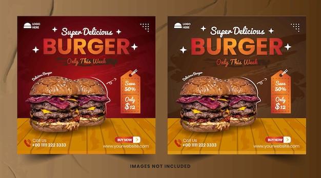 Modèle de publication instagram sur les médias sociaux pour le menu des aliments et le hamburger du restaurant