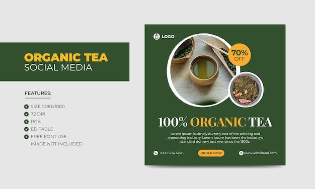 Modèle de publication instagram sur les médias sociaux pour le thé biologique