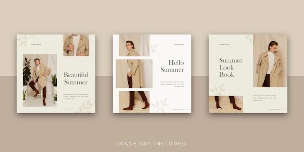 Modèle de publication instagram sur les médias sociaux pour une vente de mode simple et élégante