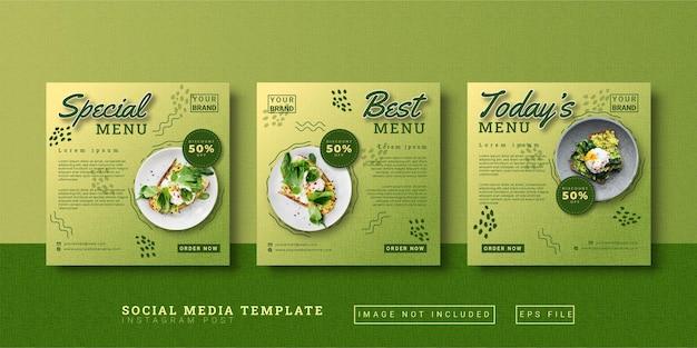 Modèle de publication instagram sur les médias sociaux de promotion alimentaire
